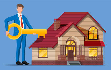 Businessman holding big key near house building. Real estate agent or realtor in suit. Countryside wooden house. Mortgage, property and investment. Buy sell or rent realty. Flat vector illustration Иллюстрация