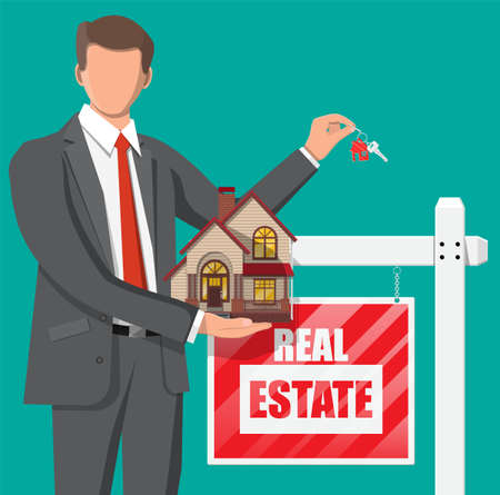 Businessman or realtor holding house and key. Wooden placard with real estate sign. Mortgage, property and investment. Buy sell or rent realty. Flat vector illustration