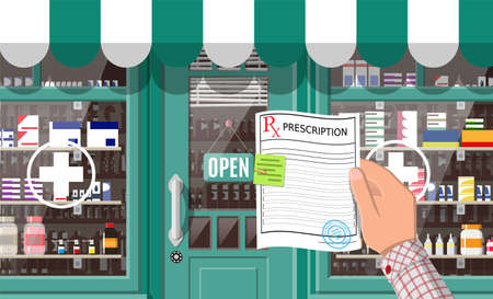 Facade pharmacy store with door. Exterior of drugstore. Medicine pills capsules bottles vitamins and tablets on showcase. Storefront shop building, street architecture. Flat vector illustration