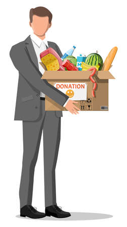 Man holding cardboard box full of food. Needed items for donation. Water, bread, meat, milk, fruits and vegetables products. Food drive bank, charity, thanksgiving concept. Flat vector illustration