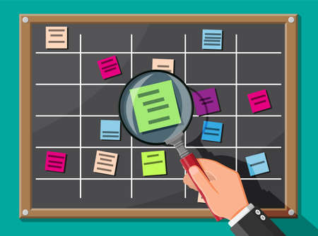 Scrum board and magnifying glass. Bulletin board hanging on wall full of tasks on sticky note cards. List of event for employee. Development, team work, agenda, to do list. Flat vector illustration Vetores