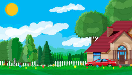 Suburban family house. Countryside wooden house icon. Car, road, fence, forest with trees and building. Nature panorama landscape. Real estate and rent. Vector illustration in flat style