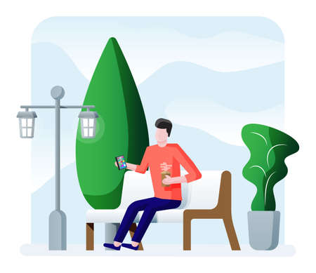 City park concept, man with smartphone at wooden bench, street lamp in square and trees. Sky with clouds. Leisure time in summer city park. Relaxation sitting area in minimalist design. Flat vector 写真素材 - 148781033
