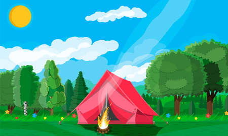Meadow with grass and camping. Tents and campfire. Summer landscape concept. Green forest and blue sky. Countryside rolling hills. Hills, flowers trees on the horizon. Vector illustration flat style Illustration