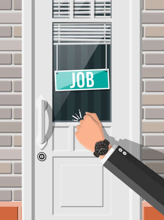 Businessman hand knocking on office door with vacancy sign. Job search. Hiring, recruiting. Human resources management, searching professional staff, work. Found right resume. Flat vector illustration