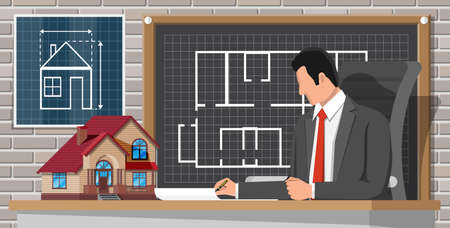 Architect create building project in office interior. House construction and development. Developer, house model and blueprint drawing. Mortgage, real estate property and investment. Flat style vector