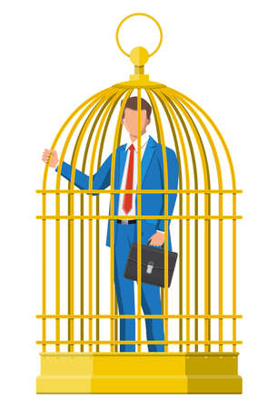 Business man locked in birds cage. Businessman man in golden cage. Feeling trapped at work. Concept of being rich but not free and overwork. Flat vector illustration