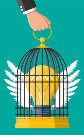 Bird cage in hand with light bulb of idea inside. Concept of creative idea or inspiration, business start up. Glass bulb with spiral and wings in flat style. Vector illustration
