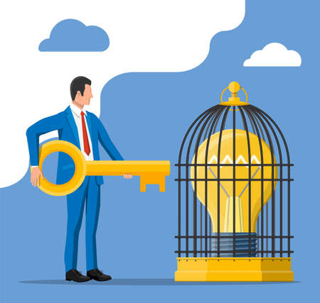 Businessman has key to open cage with big light bulb inside. Concept of creative idea or inspiration, business start up. Glass bulb with spiral and wings in flat style. Vector illustration Vettoriali