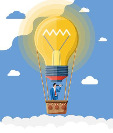 Businessman flying in big idea bulb formed balloon. Business man on hot air balloon looking through spyglass. Big idea, success, achievement, business vision career goal. Flat vector illustration