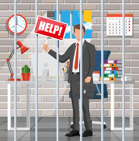 Businessman calling for help in the prison cell. Overworked business man in jail. Stress at work. Bureaucracy, paperwork, deadline and paperwork. Vector illustration in flat style