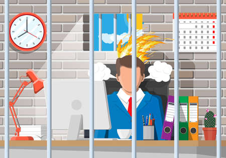 Businessman working on computer in the prison cell. Business man head in fire. Deadline, late with working task. Overworked stressed office worker. Time management. Flat vector illustration