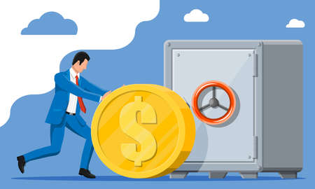 Rich businessman depositing his money in bank in safe. Big gold dollar coin. Growth, income, savings, investment, wealth. Business success. Flat vector illustration