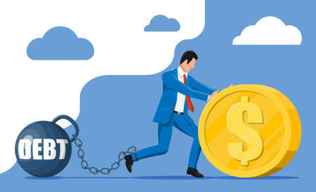 Businessman chained to big heavy debt weight with shackles. Character tied by chain to large dumbbell. Business man corporate slavery. Tax, debt, fee, crisis and bankruptcy. Flat vector illustration