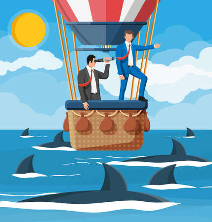 Business people on air balloon, shark in water. Businessman with spyglass. Obstacle on road, financial crisis. Risk management challenge. Searching business solution strategy. Flat vector illustration Illusztráció