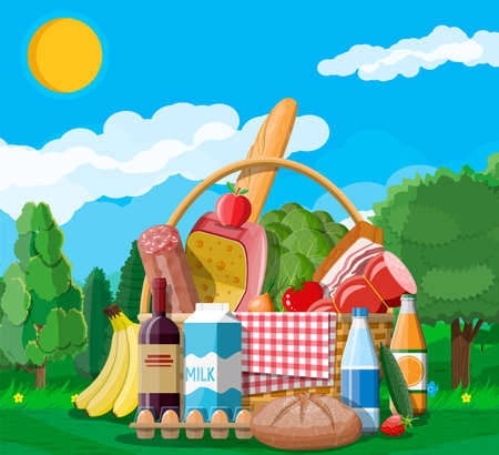 WIcker picnic basket full of products. Wine, sausage, bacon and cheese, apple, tomato, cucumber, salad, orange juice. Grass, flowers, sky with clouds and sun. Vector illustration in flat style Stock Illustratie