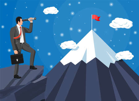 Businessman with briefcase looking for opportunities in spyglass. Business man look up to the target on mountain. Success, achievement, business vision career goal. Flat vector illustration