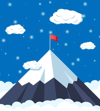Flag on peak of mountain. Business success, target, triumph, goal or achievement. Winning of competition. Rocky mountains, sky with stars and clouds in night. Vector illustration in flat style.