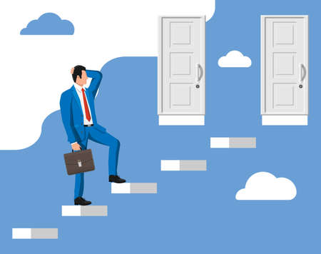 Businessman standing in front of two closed doors. Choice way. Symbol of decision and choice, opportunities or career path, decide direction. Business man before choosing. Flat vector illustration Çizim
