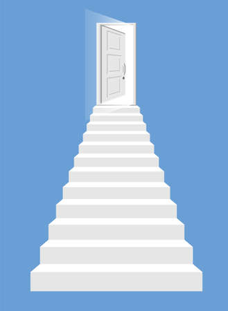 White stairs and open door isolated. Steps up to the shining entry. Concept of success, achievement, stairway to heaven. Symbol of motivation, development. Flat vector illustration