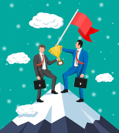 Two businessmans standing on top of mountain with flag and trophy. Symbol of victory, successful mission, goal and achievement. Trials and testing. Win, business success. Flat vector illustration