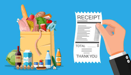 Shopping paper bag with fresh products and hand with receipt. Grocery store, supermarket. Food and drinks. Milk, vegetables, meat, chicken cheese, sausages, salad, bread egg. Flat vector illustration