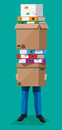 Stressed businessman holds pile of office folders and documents. Overworked business man with stacks of papers. Stress at work. Bureaucracy, paperwork, big data. Vector illustration in flat style