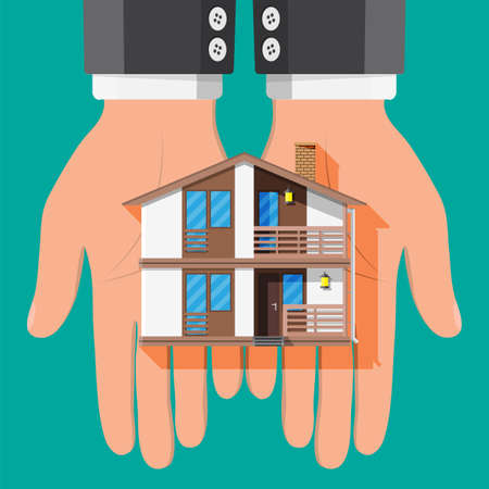 Businessman holding house building. Real estate agent or realtor in suit. Countryside wooden house. Mortgage, property and investment. Buy sell or rent realty. Flat vector illustration Çizim