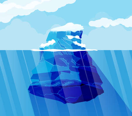 Big iceberg and ocean. Ice in sea. Blue sky with clouds. North nature background. Vector illustration in flat style