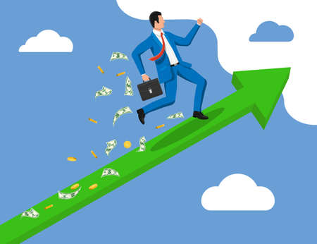 Businessman on chart ladder is fast running with waving necktie and briefcase. Goal setting. Smart goal. Business target concept. Achievement and success. Vector illustration in flat style Illusztráció
