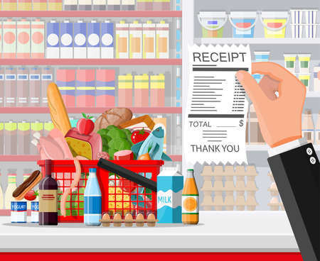 Supermarket store interior with goods, hand with receipt. Big shopping mall groceries shop. Inside of super market full of food. Grocery, drinks, fruits, dairy products. Flat vector illustration Illusztráció