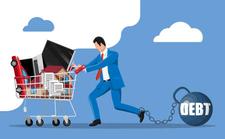 Businessman chained to big heavy debt weight with shackles, pulling shopping cart with with house building, car, laptop, tv, receipt check. Tax, debt, fee, crisis, bankruptcy. Flat vector illustration