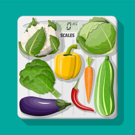 Body scales and fresh vegetables icons. Eggplant, pepper, cabbage, salad, carrot. World health day concept. Healthy diet. Organic healthy food. Vegetarian nutrition. Vector illustration in flat style
