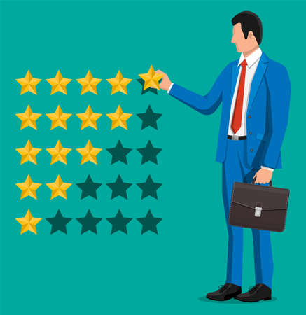 Businessman puts rating. Reviews five stars. Testimonials, rating, feedback, survey, quality and review. Vector illustration in flat style 일러스트