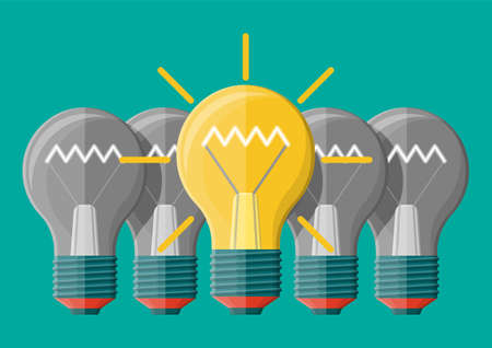 Bright light idea bulb. Uniqueness, individuality, think differently standing out from crowd. Symbol of creativity, visions, ideas, inspiration, motivation. Business startup. Flat vector illustration