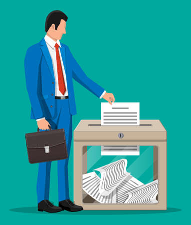 Businessman and ballot box. Container with glass window and lock full of documents papers. Voting case for suggestions elections. Box for tips and donations. Vector illustration in flat style