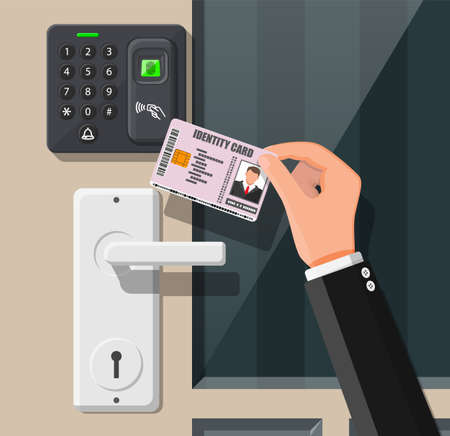 Password and fingerprint security device at office or home door. Hand with id card. Access control machine or time the attendance. Proximity card reader. Vector illustration in flat style Vettoriali