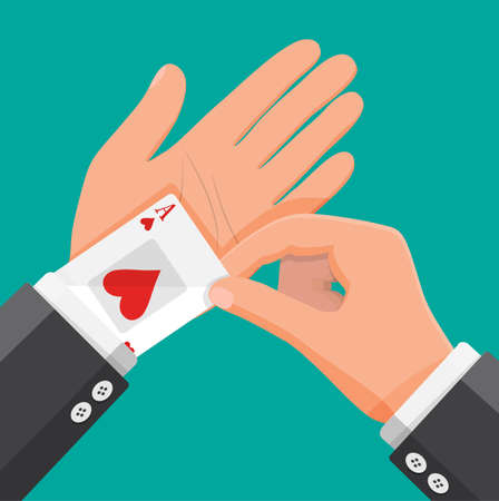 Businessman hides aces playing cards in his sleeve. Ace in the pocket. Concept of backup or plan B, second chance. Cheating at play, luck or business success. Flat vector illustration