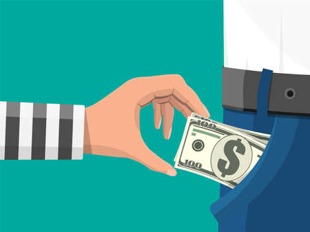 Human hand in prison robe takes money cash from pocket. Thief pickpocket stealing dollars banknotes from jeans. Crime and robbery concept. Flat vector illustration Vektorgrafik