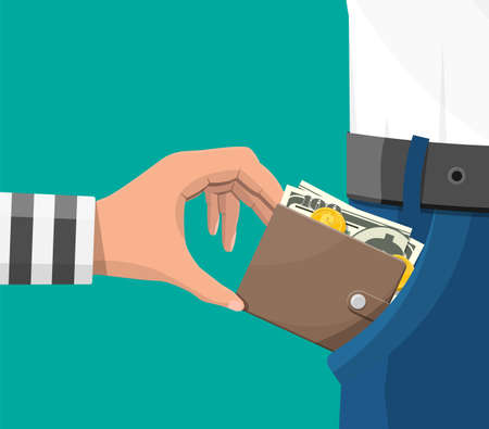 Human hand in prison robe takes money cash from pocket. Thief pickpocket stealing dollars banknotes from jeans. Crime and robbery concept. Ilustração