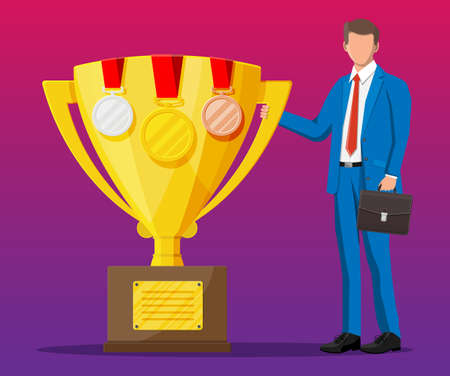 Successful businessman near big gold trophy cup with medals, celebrates his victory. Business success, triumph, goal or achievement. Winning of competition. Vector illustration flat style