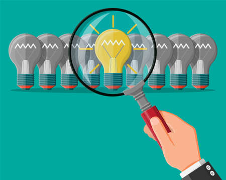 Bright light idea bulb under magnifying glass. Uniqueness, individuality, differently standing out from crowd. Creativity, ideas, inspiration, motivation. Business startup. Flat vector illustration Ilustrace