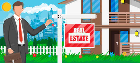 Businessman   near suburban house holding key. Wooden placard with real estate sign. Mortgage, property and investment. Buy sell or rent realty. Flat vector illustration Illustration