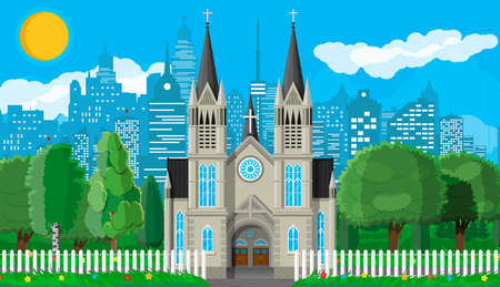 Exterior of catholic or protestant church cathedral in gothic style with fence and trees behind. Chapel. Tower with cross. Park with cityscape and sky. Suburb church concept. Flat vector illustration