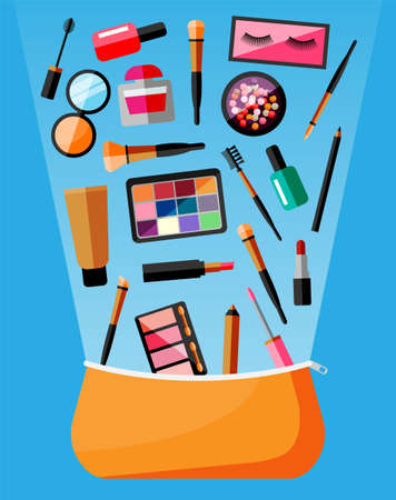 Makeup collection in bag. Set of decorative cosmetics. Make-up store. Various brushes, perfume, mascara, gloss, powder, lipstick and blush. Beauty and fashion. Cartoon flat vector illustration