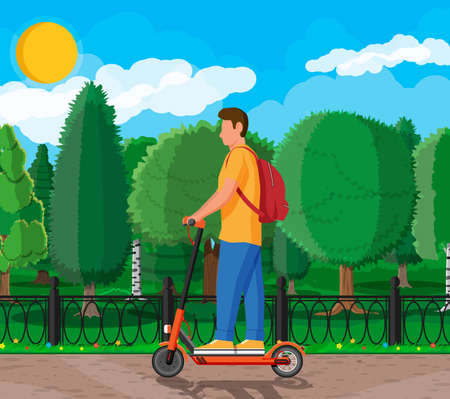 Young man on kick scooter. Guy with backpack rolling on electric scooter. Hipster character uses modern urban transport. Ecological, convenient city transportation. Cartoon flat vector illustration