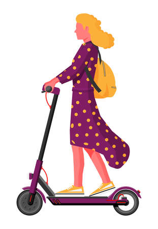Young woman on kick scooter. Girl with backpack rolling on electric scooter. Hipster character uses modern urban transport. Ecological, convenient city transportation. Cartoon flat vector illustration