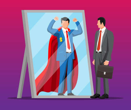 Businessman facing himself as superhero in mirror. Business ambition and success concept. Symbol of power, leadership, courage, bravery. Achievement and goal. Flat vector illustration Illusztráció