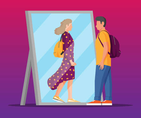 Man transgender looking in mirror and seeing woman. Illustration