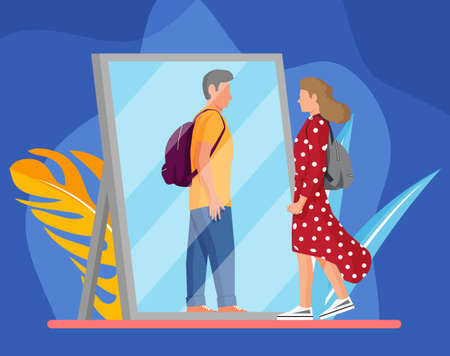 Woman transgender looking in mirror and seeing man. Illustration